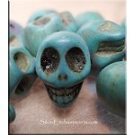 Turquoise Bead Charms, Skull 3D Side-drilled