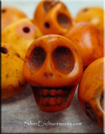 Skull Bead Charms, Orange 3D Side-drilled
