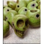 Skull Bead Charms, Green Turquoise 3D Side-drilled