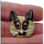 Lampworked Cat Beads, Glass Cat Pendant Beads, 1pc