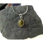 ZSOLD / Rainforest Jasper Charm-Pendant Necklace, Solid Sterling Silver