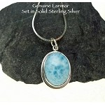 Minimalist Oval Larimar Pendant, Sterling Silver Larimar Necklace