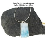 Natural Larimar Pendant in Genuine Sterling Silver, Rectangle