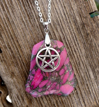 SOLDOUT - Pentacle Necklace - Silver Pentacle on Pink Agate and Pyrite 18-inch Necklace