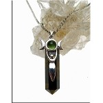 Silver Triple Goddess Pendant, Tiger's Eye with Peridot Moon Goddess Necklace