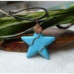 Turquoise Star Necklace, Copper Wrapped Pendant