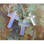 Opalite Cross Necklace, Sea Opal Cross Pendant Necklace