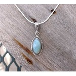 Natural Larimar Pendant, Sterling Silver Larimar Necklace