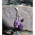 Triple Amethyst Necklace - Dangling Amethyst Crystals for Crystal Healing Reiki Wicca