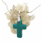 Turquoise Cross Pendant, Turquoise Cross Necklace - Everyday Christian Jewelry