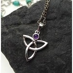 ZSOLDOUT / Silver Triquetra Pendant with Amethyst, Celtic Jewelry