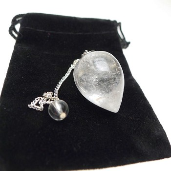 Quartz Crystal | Rock Crystal Pendulum Teardrop Gemstone Pendulum with Pouch for Energy work, Dowsing, and Divination