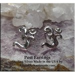 Sterling Silver Om Post Earrings, Om Symbol Earrings