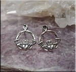 Sterling Silver Claddaugh Post Earrings, Celtic Earrings