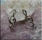 Sterling Silver Treble Clef Post Earrings, Musician Earrings