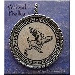 Winged Phallus Pendant Evil Eye Warding, Good Fortune, Fertility