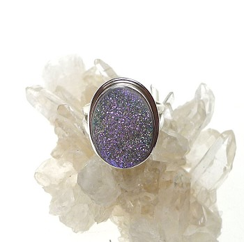 Genuine Druzy Ring, Size 8 Sterling Silver Teal and Pink Titanium Druzy
