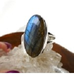 Sterling Silver Labradorite Ring Size 5-1/2