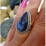 Sodalite Ring Size 6, Sterling Silver Large Stone