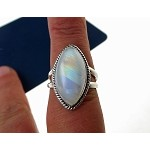 ZSOLD - Rainbow Moonstone Ring Size 9 in Solid Sterling Silver .925 Moonstone Jewelry