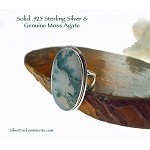 Large Moss Agate Ring in Solid Sterling Silver, Size 10