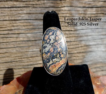 Sterling Silver Large Oval Leopardskin Jasper Ring Size 8