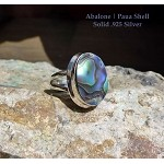 Abalone Paua Shell Ring Size 6, Sterling Silver