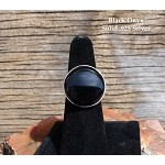 Sterling Silver Black Onyx Ring Size 7, Coin Gemstone Ring