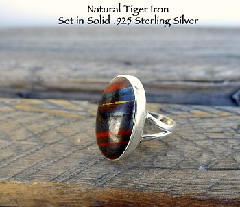 Sterling Silver Tiger Iron Ring Size 6, Oval Hematite, Tiger Eye, Red Jasper