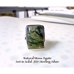 Moss Agate Ring in Solid Sterling Silver Size 5