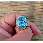 Abalone Shell Ring Sterling Silver Paua Ring Size 9
