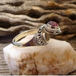 SOLD - Garnet Ring - Sterling Silver Poison Ring with Genuine Garnet Gemstone - Size 6.5