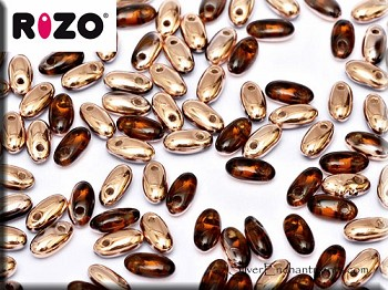 Rizo Beads, Smokey Topaz Gold Half-Coat