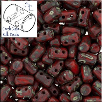 Rulla Beads, Opaque Red Picasso, 10g Czech Rulla Seed Beads 3x5mm