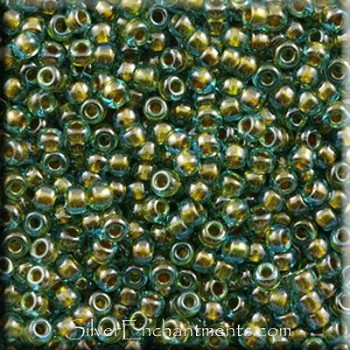 Miyuki Seed Beads, Size 11, Inside Color Lined Olive Green, Tube