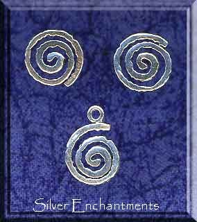 Sterling Silver Celtic Tribal Spiral Post Earrings and Matching Charm Gift Set