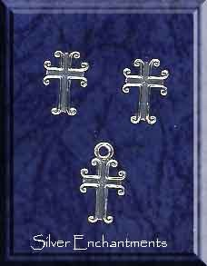 Sterling Silver Gothic Cross Post Earrings and Matching Charm Gift Set