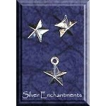 Sterling Silver Celestial Jewelry Set, Star Stud Earrings and Charm