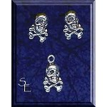 Sterling Silver Pirate Jewelry Set, Skull and Bones Stud Earrings and Charm