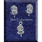 Sterling Silver Flower Jewelry Set, Rose Stud Earrings and Charm