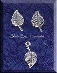 Sterling Silver Nature Jewelry Set, Leaf Stud Earrings and Charm