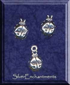 Sterling Silver Bug Jewelry, Ladybug Stud Earrings and Charm