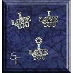 Sterling Silver Love Jewelry Set, I Love You Stud Earrings and Charm