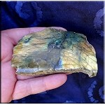 Rainbow Labradorite Slab Endpiece - 1 Side Polished - Flashy Spectrolite Gemstone Cabbing Material or Display Specimen