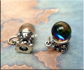 Sterling Crystal Ball Charm, Fortune Teller, Psychic, Gypsy Jewelry