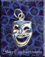 Comedy Drama Mask Pendant, Sterling Silver
