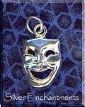 Sterling Silver Comedy Pendant, Drama Mask