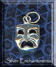 Sterling Silver Tragedy Pendant, Drama Mask