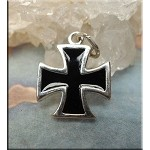 Sterling Silver Maltese Cross Charm with Black Enamel