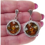 Celtic Genuine Amber Earrings, Sterling Silver Celtic Earrings with Baltic Amber